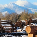 "Berlin, NH.  ""View of Mount Madison on left and Mount Adams on right from the log yard at White Mountain Lumber."" Credit: Ross Caron"