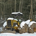 "South Williamsport, PA. ""The sale is finished so the skidder rests in the new fallen snow."" Credit: Charlie Schwarz"
