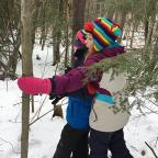 "Unity, NH. ""North Charlestown Community School fourth grade students carefully guide each other to 'meet a tree' with all their senses except sight."" Credit: Dawn Dextraze"